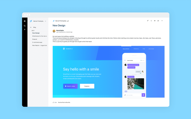 Confluence for Marvel - Embed website and app prototypes