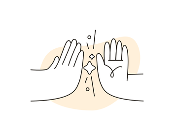 Illustration of 2 hands high fiving