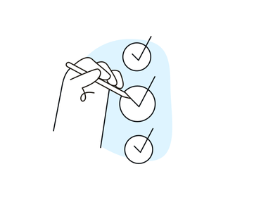 Illustration of a hand ticking checkboxes